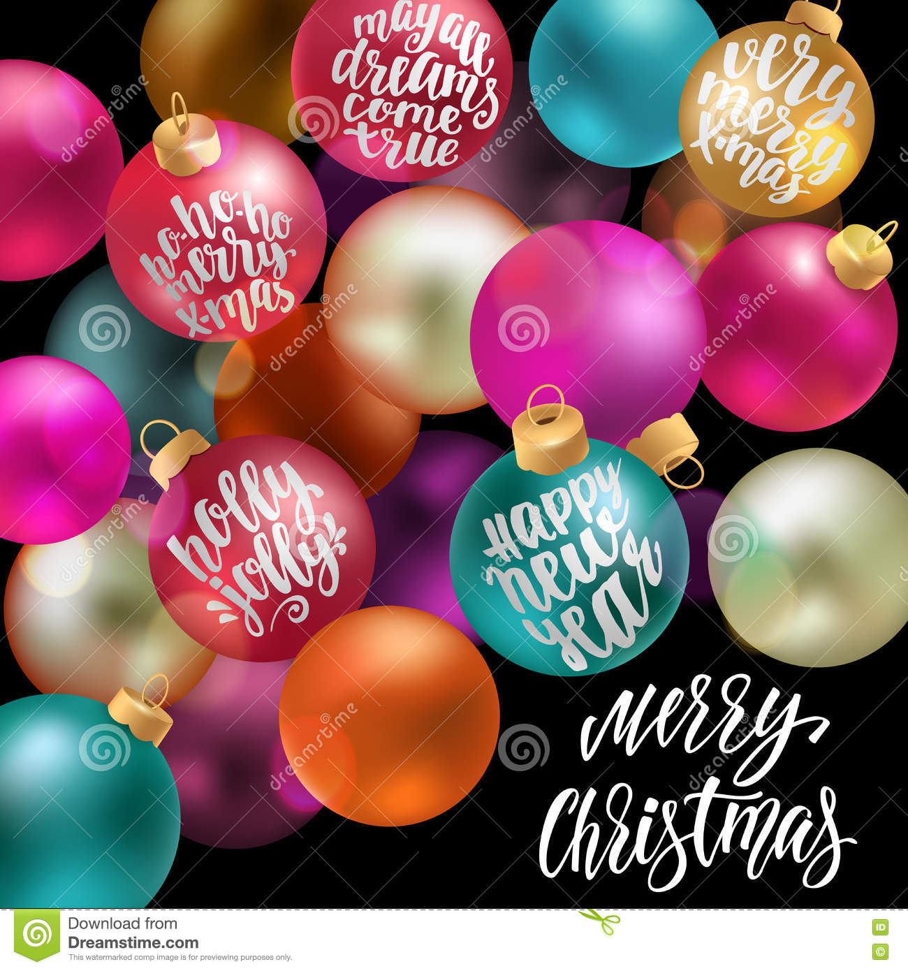 Christmas Balls Word Cloud, New Year Decoration With ...