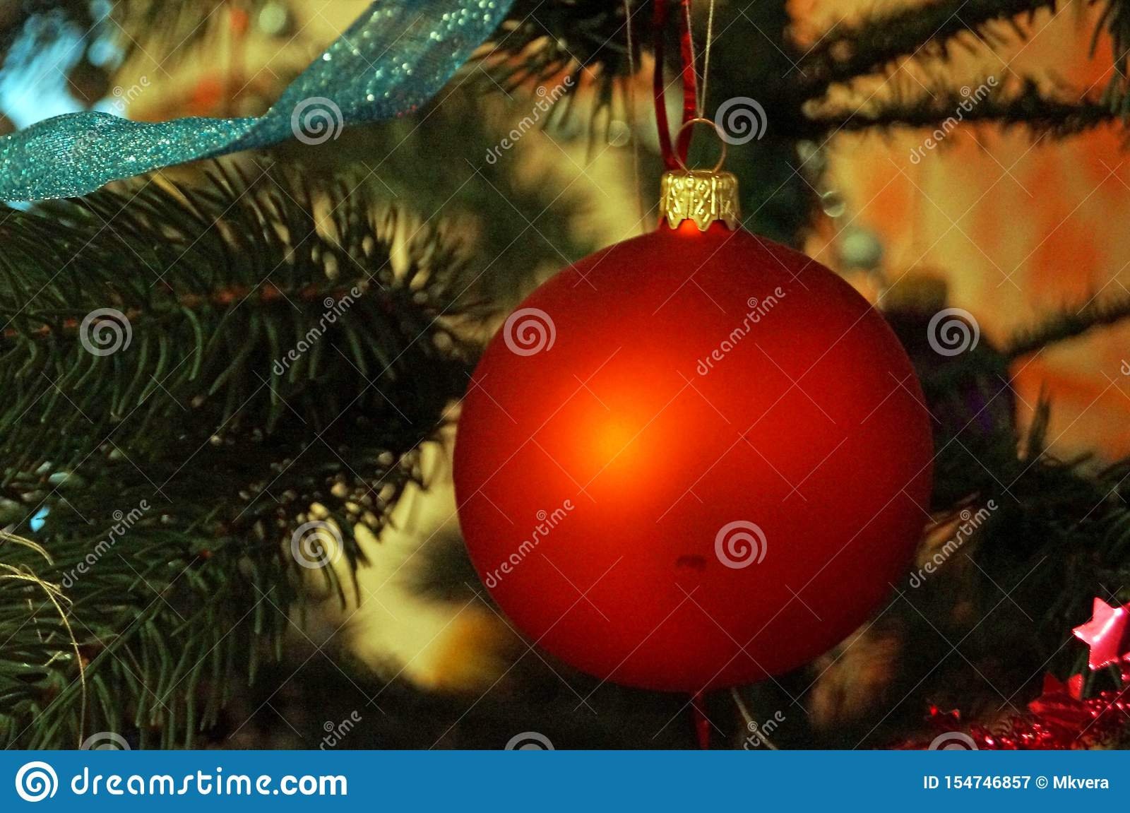 Christmas Balls Yellow Red White Blue Gold Blue Hang On A Christmas Tree Branch Stock Image Image Of Hanging Hang 154746857