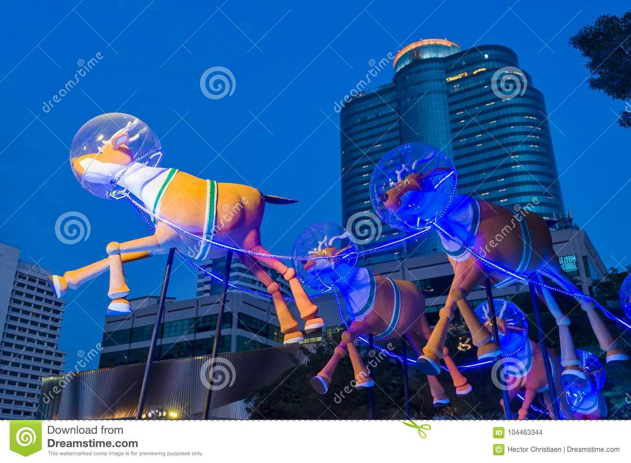 Christmas In Bangkok With Reindeer And Sleigh Editorial Stock Image ...