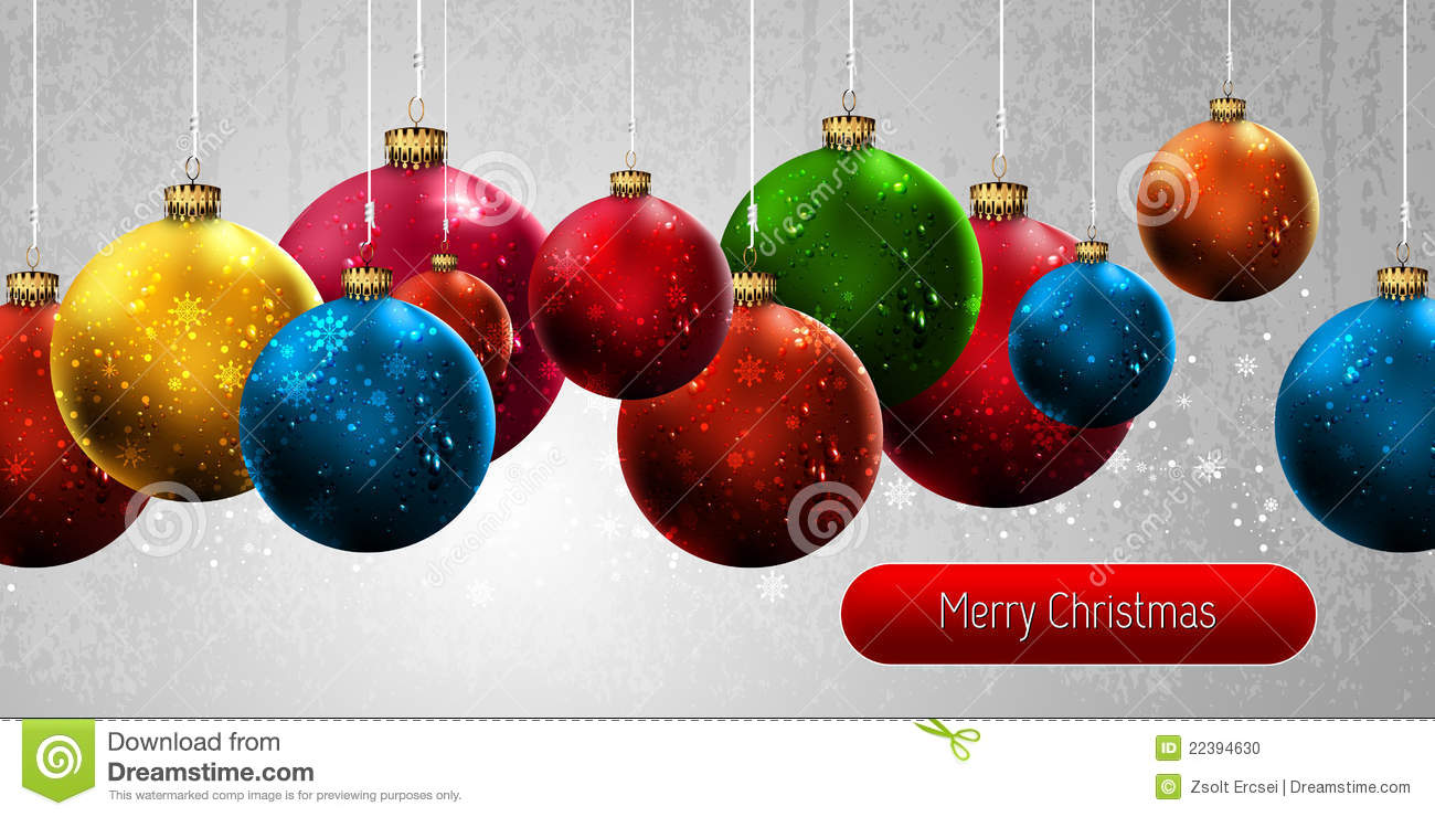 Christmas Banner with Colorful Globes