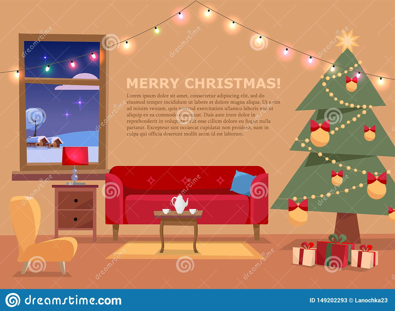 Christmas banner with flat vector illustration of living room decorated for holidays. Cozy home interior with furniture, sofa,