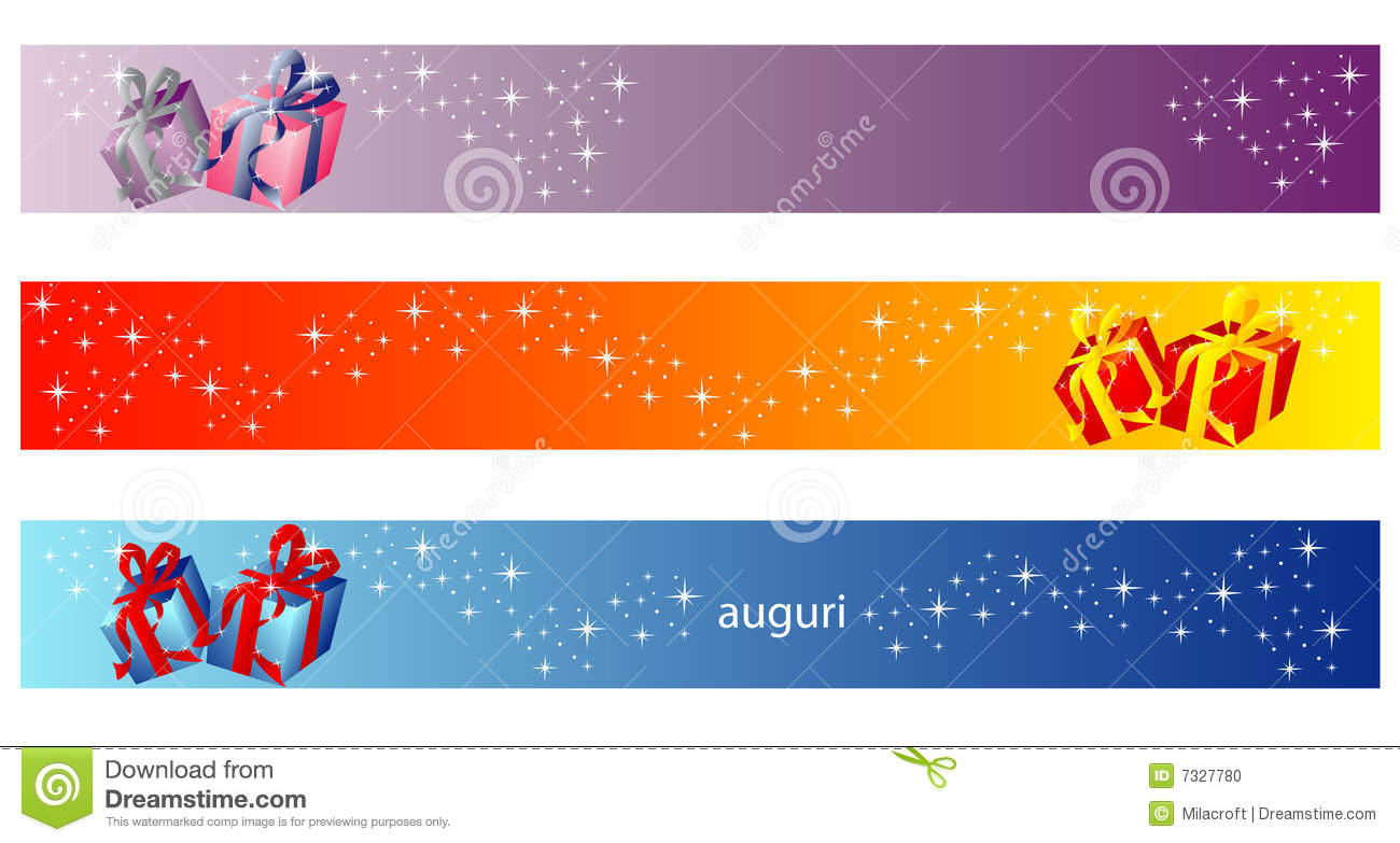 christmas banner - gift collection stock photo