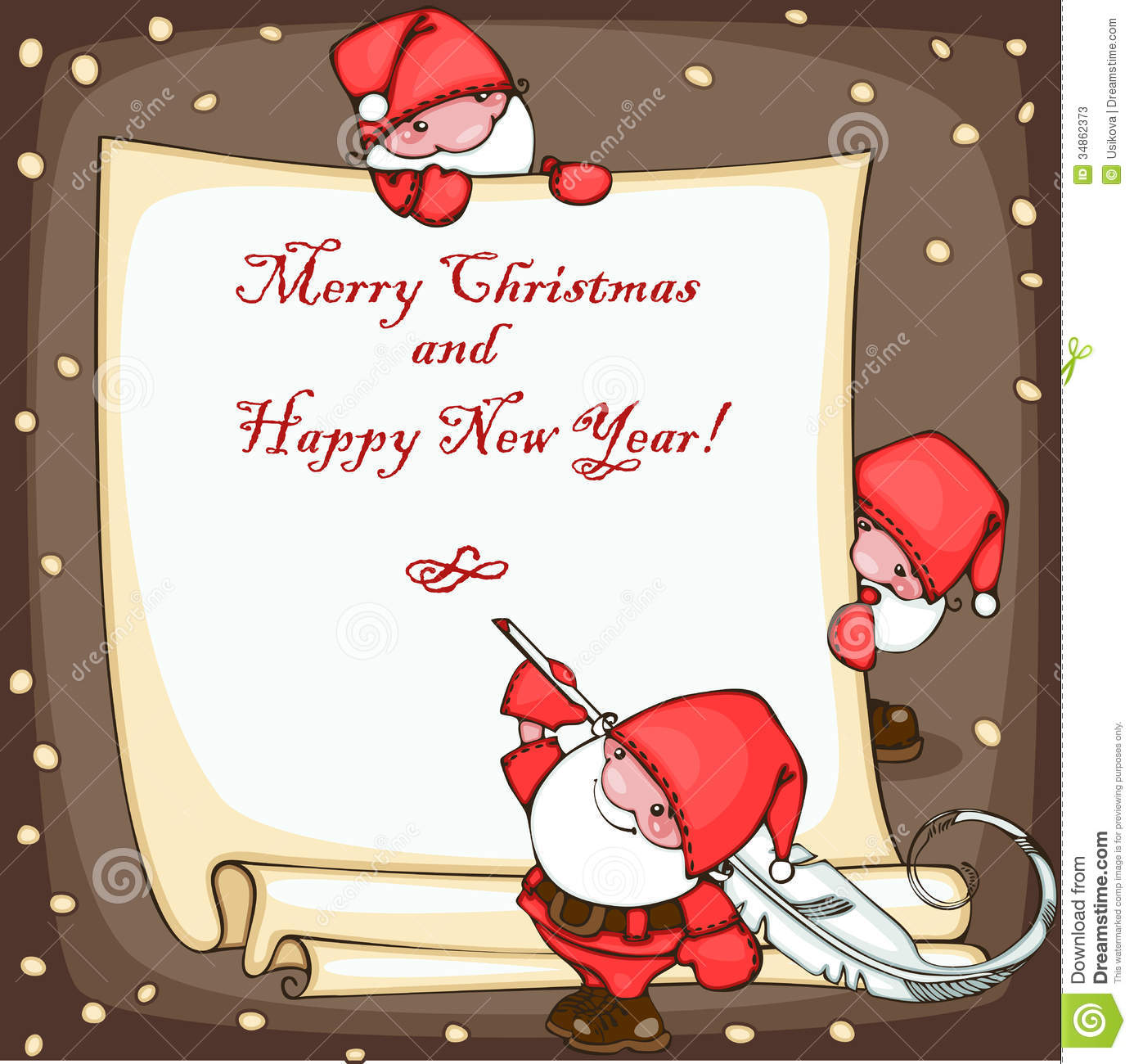 Banner merry christmas and happy new year with santa claus