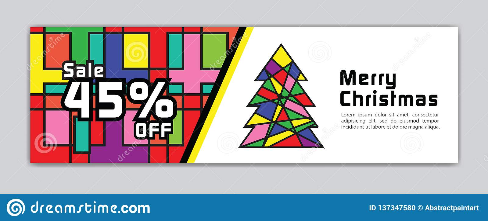 Christmas banner, Sale banner template, Horizontal christmas posters, cards, headers, website, colorful background, vector