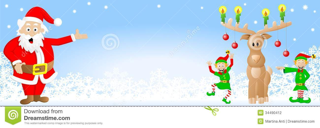 Christmas banner with santa claus elves and reind stock