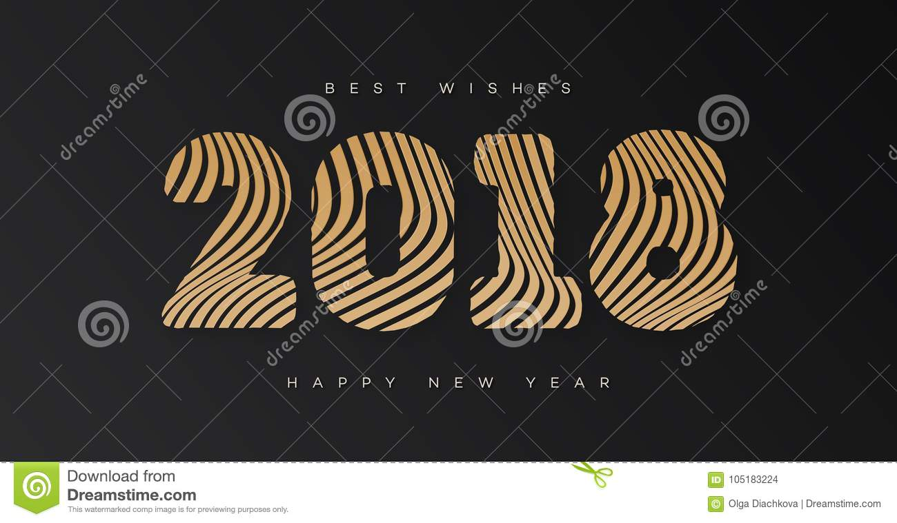 christmas banner with sign 2018 happy new year gold style on black background for invitation