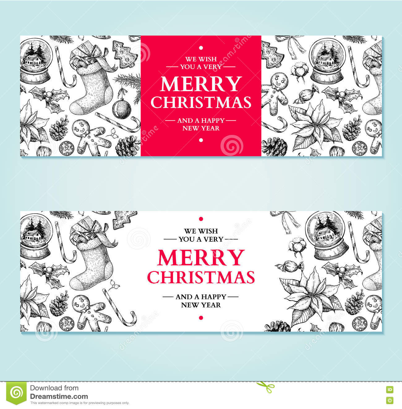 Christmas banner vector hand drawn illustration xmas plants and christmas banner vector hand drawn illustration xmas plants and buycottarizona Image collections