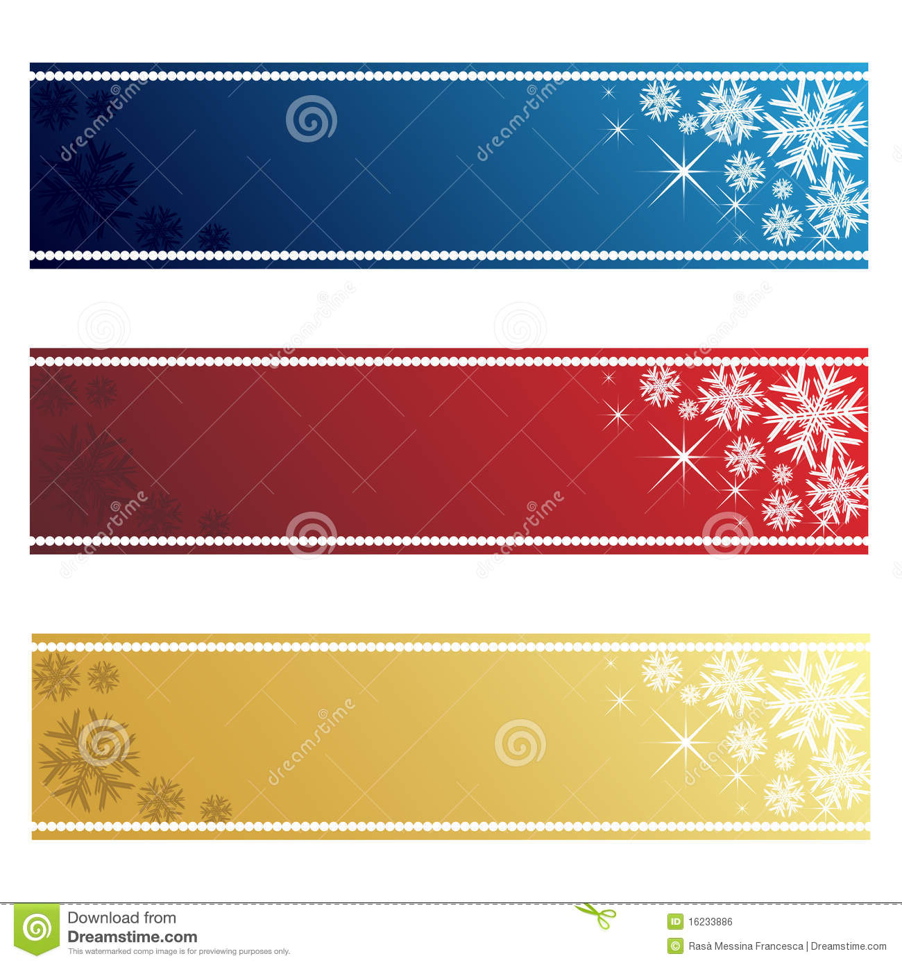 Set of three Christmas banner in three colors:blue,red and golden ...