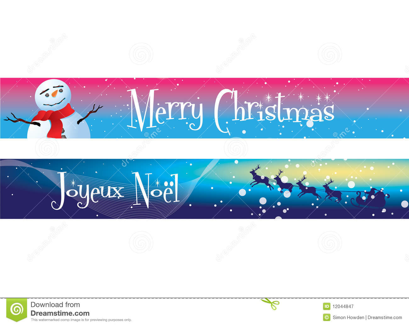 Christmas banners on blue and pink royalty free stock photography