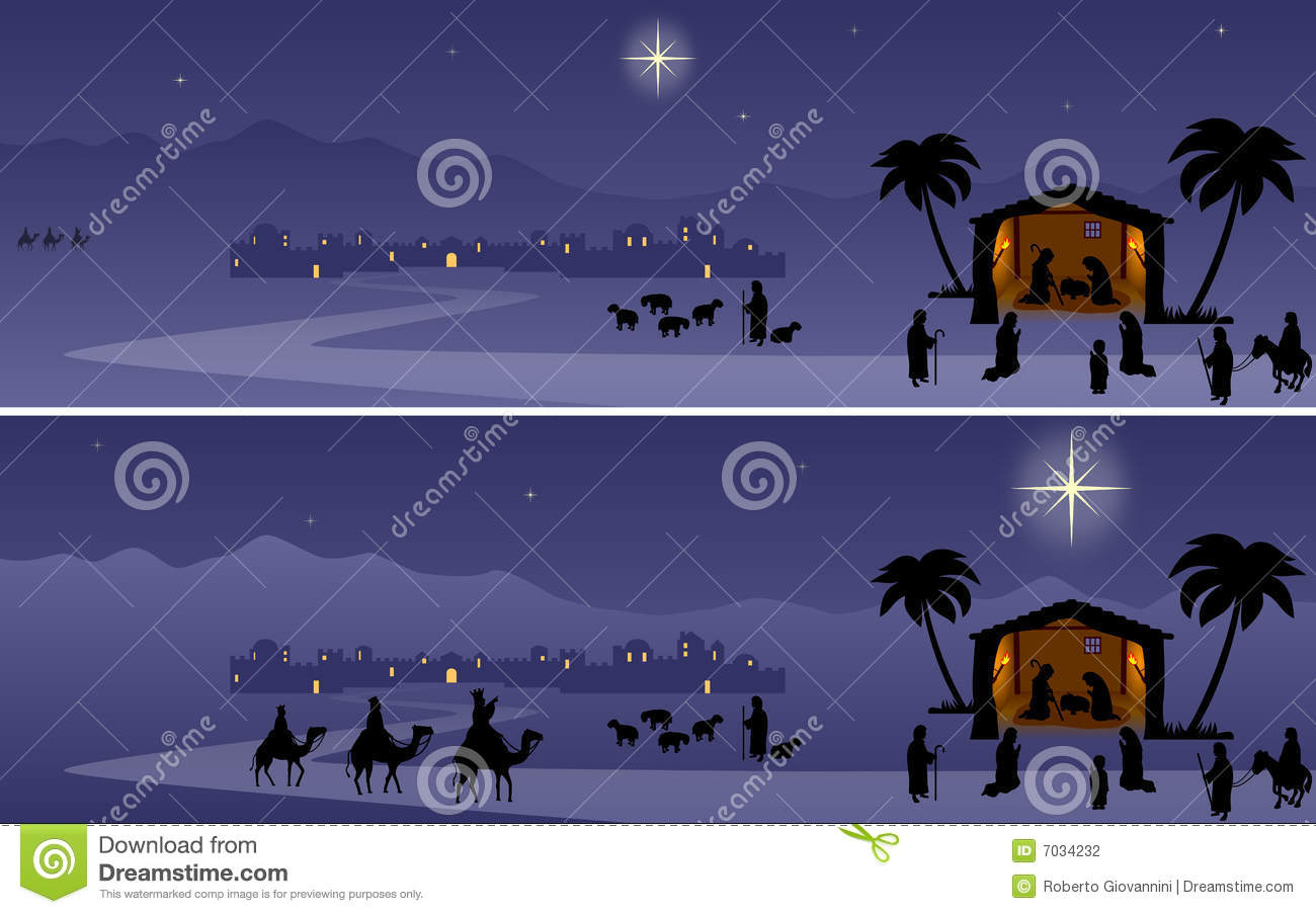 Nativity night scene. Two banners, useful also as creche background.