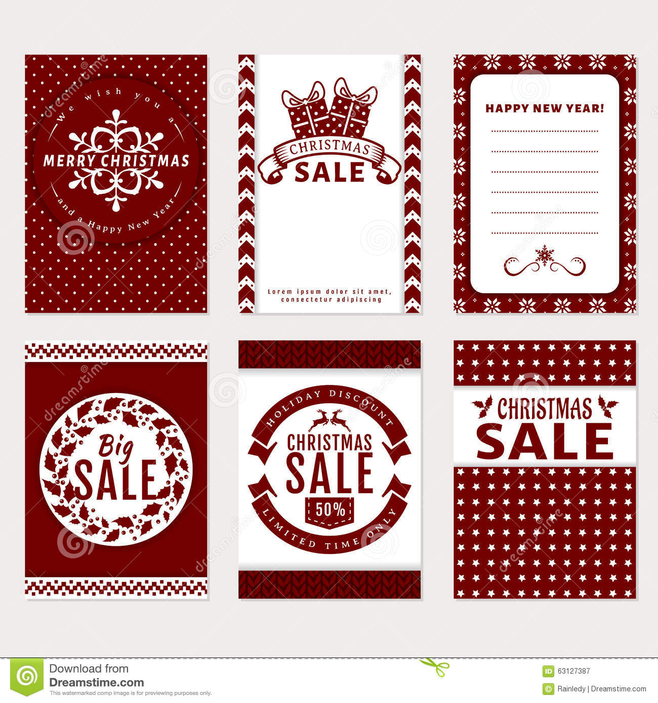 Christmas Banners Set - Sale And Greeting Cards. Stock Vector ...