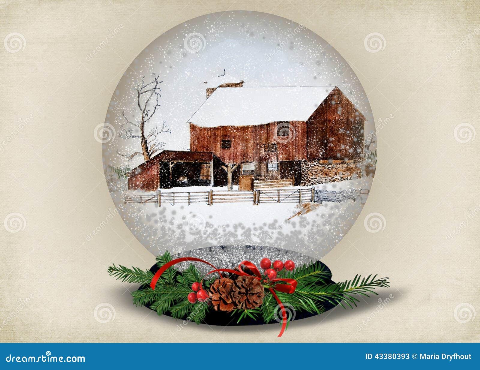 christmas barn in snow globe stock illustration illustration of