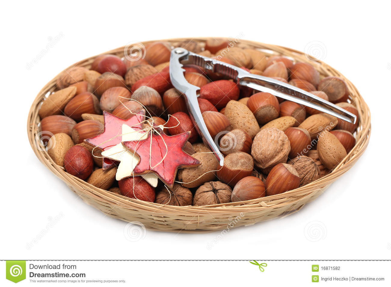 Christmas Basket With Nuts And Nutcracker Stock