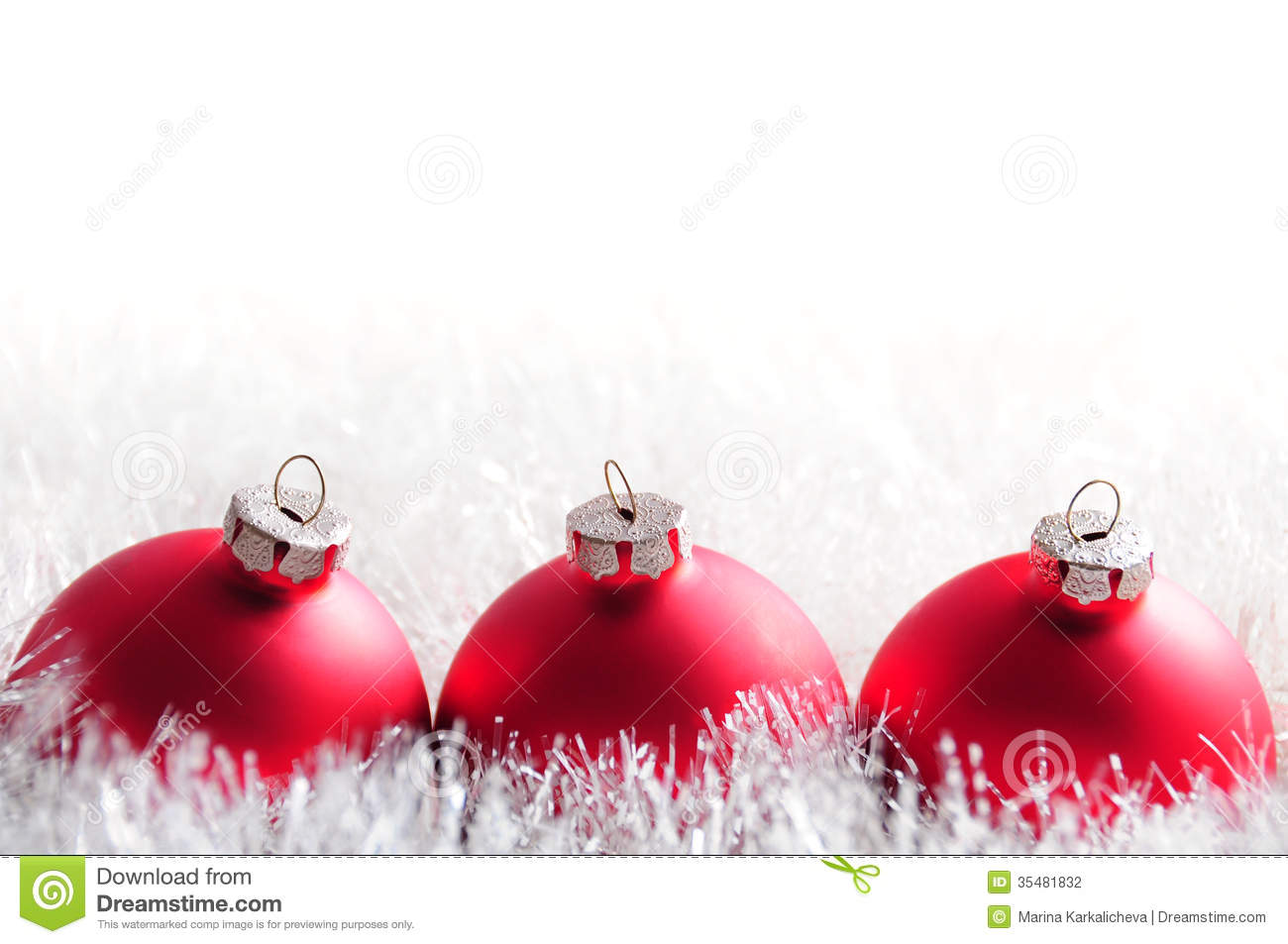 Christmas bauble postcard stock photography image 35481832 for White christmas baubles