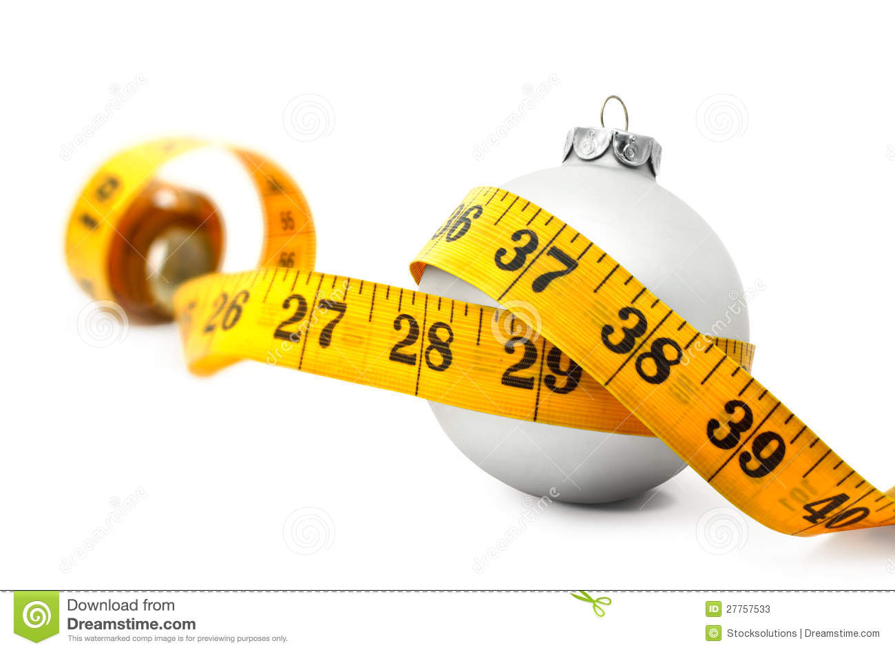 Christmas Bauble Tape Measure Stock Photos - Image: 27757533