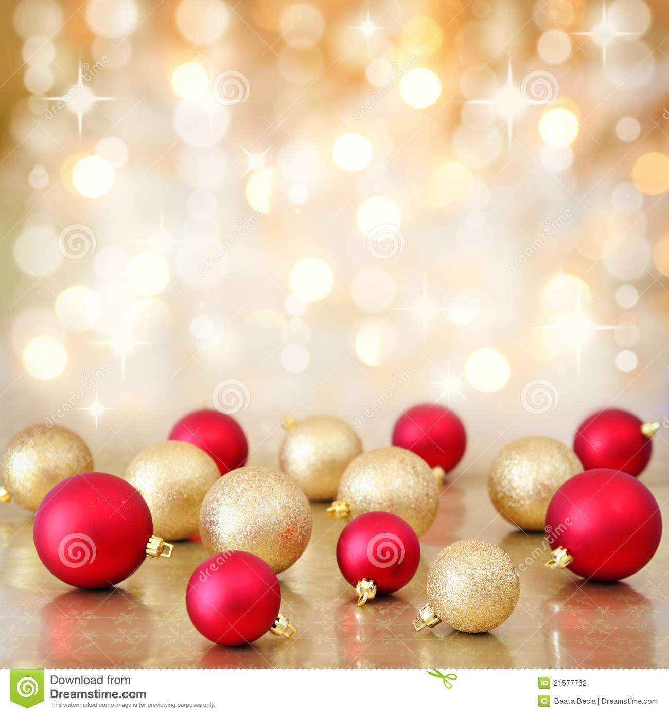 Silver and golden background of defocused abstract lights bokeh - Christmas Baubles On Defocused Lights Background Stock