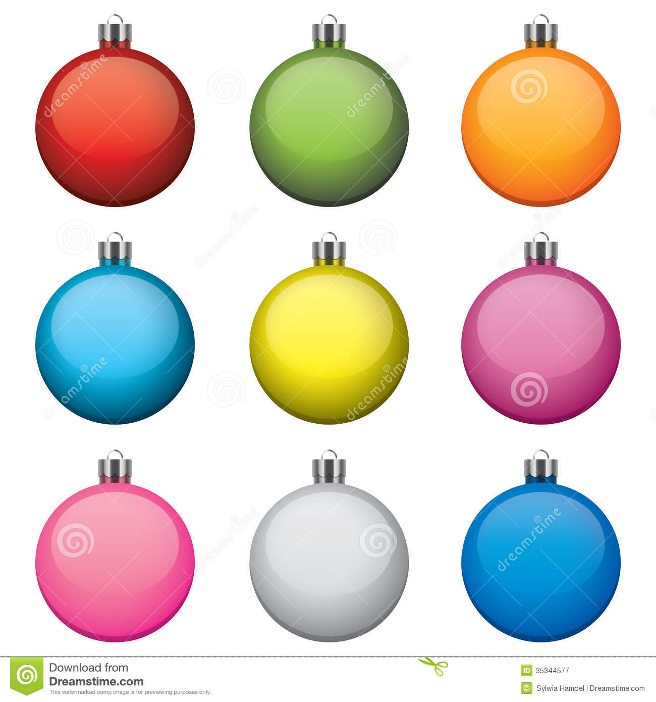 Christmas Baubles, Different Colors And Patterns, Royalty Free Stock ...