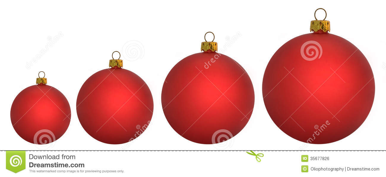 four red christmas baubles going from large to small - Large Red Christmas Decorations
