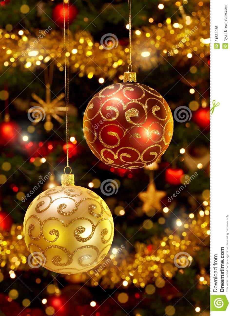 Christmas Baubles Hanging On Christmas Tree Royalty Free