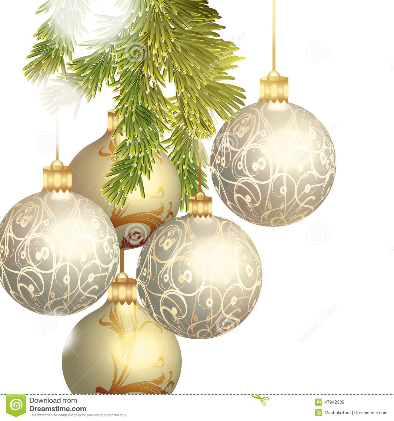 Christmas baubles isolated on white stock vector for White christmas baubles