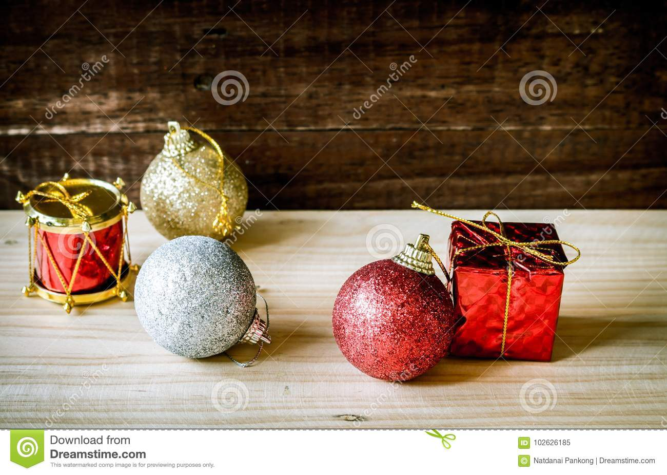 Christmas Baubles Red Gold Silver On Table Stock Image Image Of