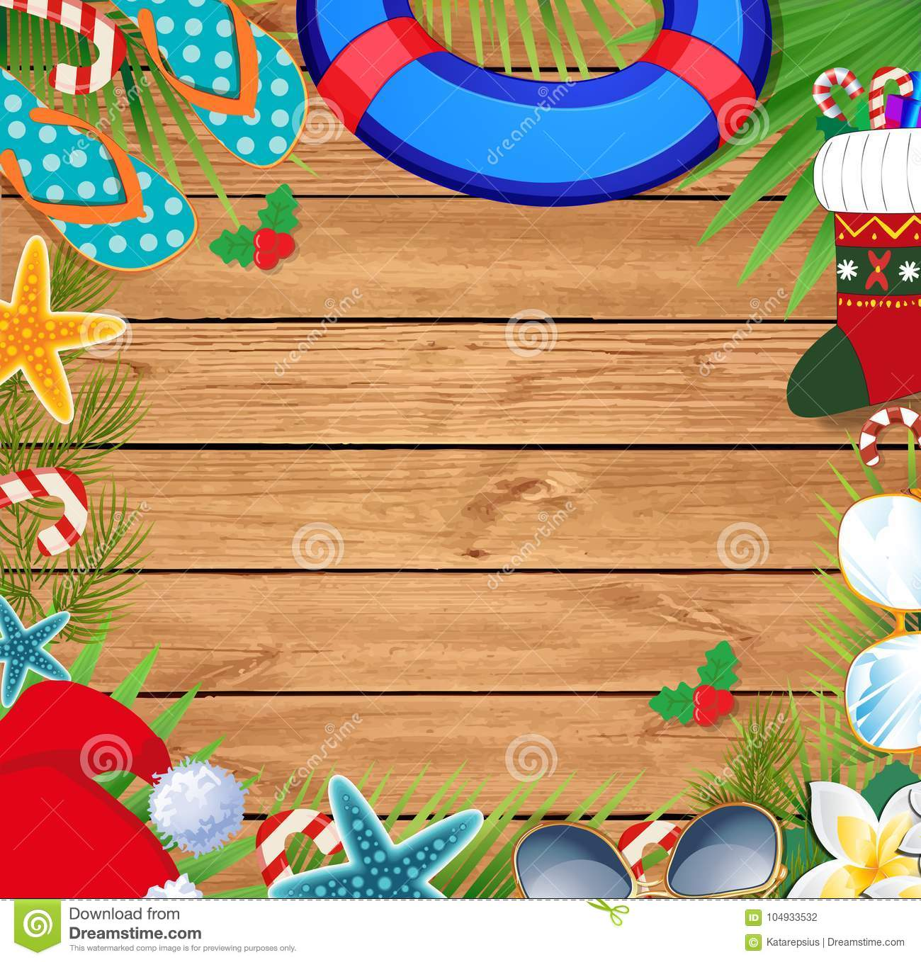 christmas beach border with copy space