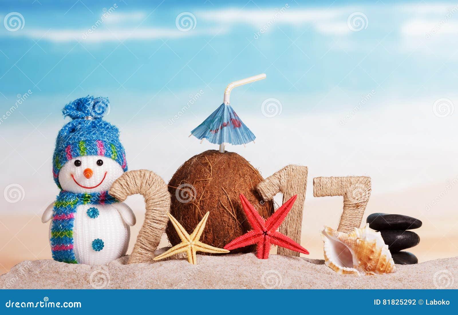 Christmas beach with the inscription snowman and
