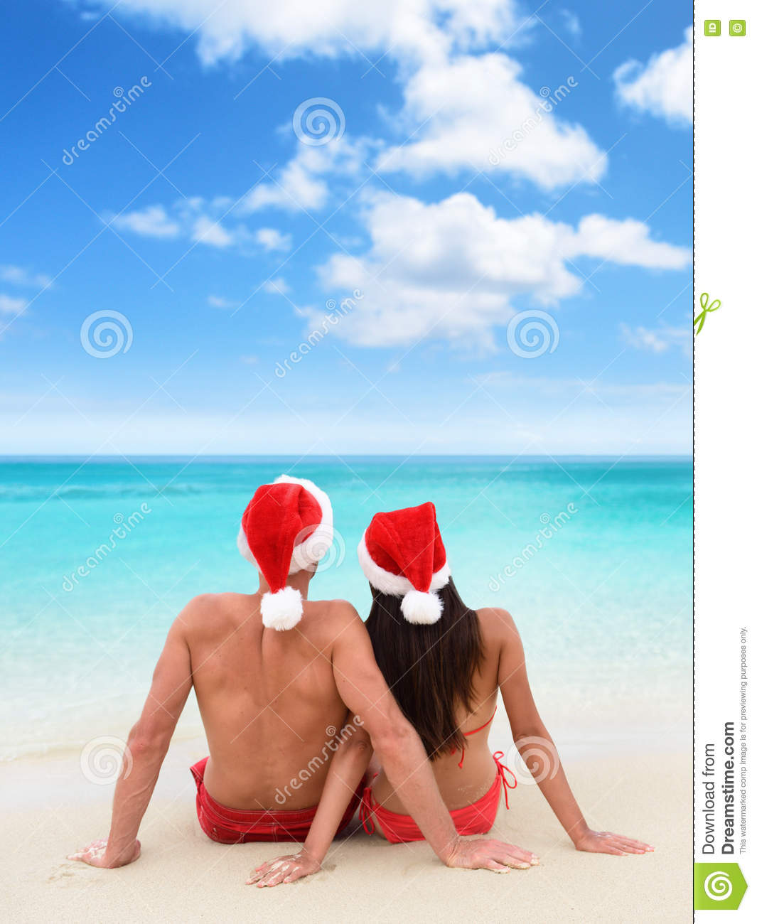 Christmas beach vacation holidays couple relaxing