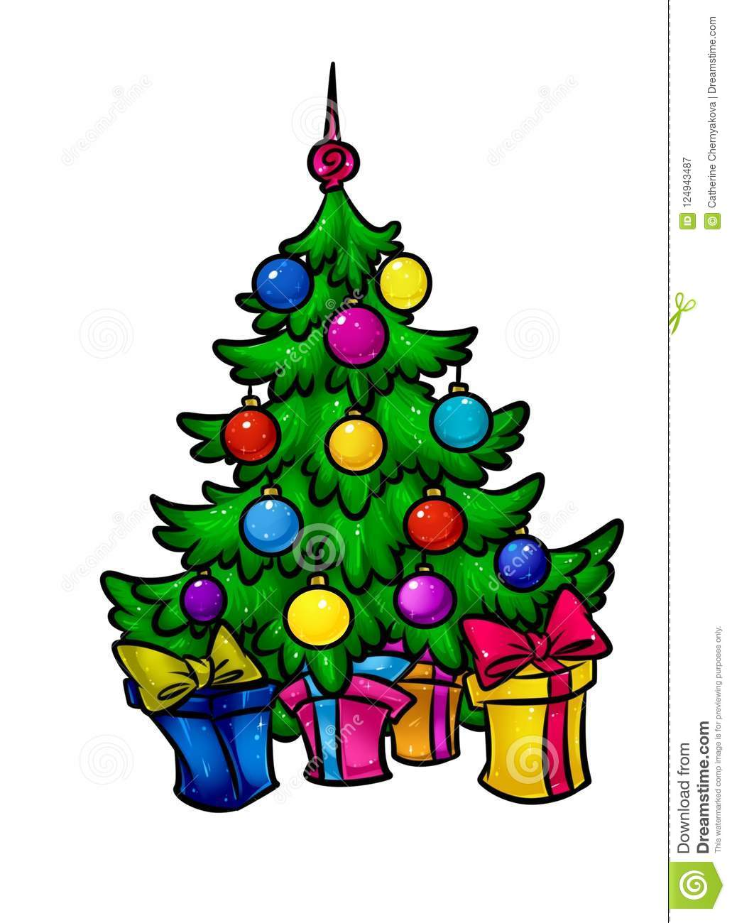 Christmas Beautiful Christmas Tree Holiday Gifts Cartoon Stock