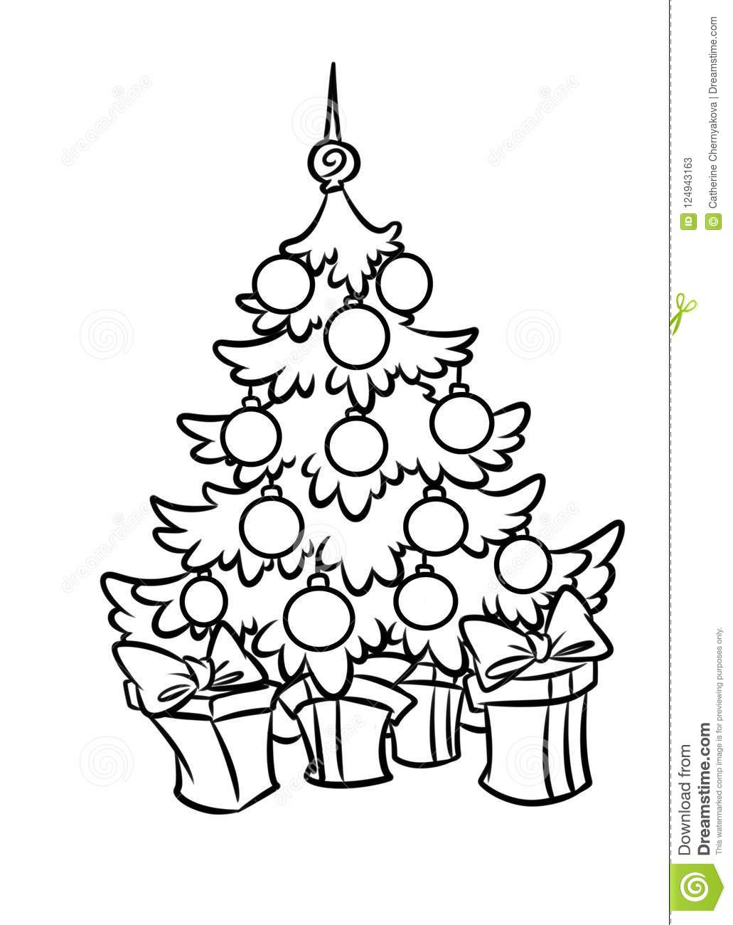 Christmas Beautiful Christmas Tree Holiday Gifts Cartoon Coloring