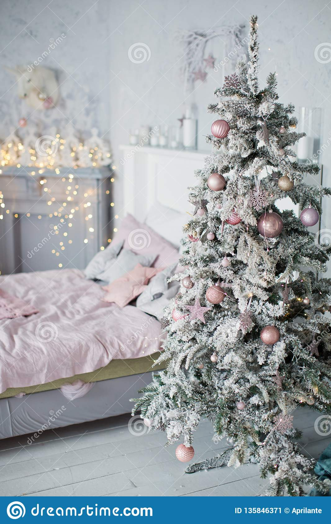 Christmas Bedroom With Pink And Grey Decoration Stock Image Image Of Interior Gift 135846371
