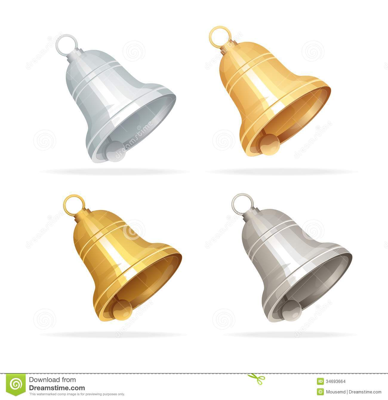 Christmas Bell Set On White Background Stock Images - Image: 34693664