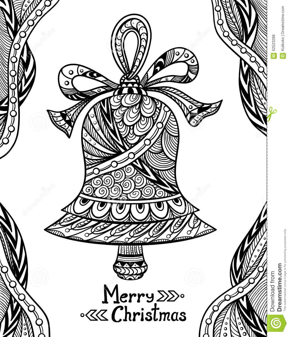 Christmas Bell In Zendoodle Style Black On White Stock
