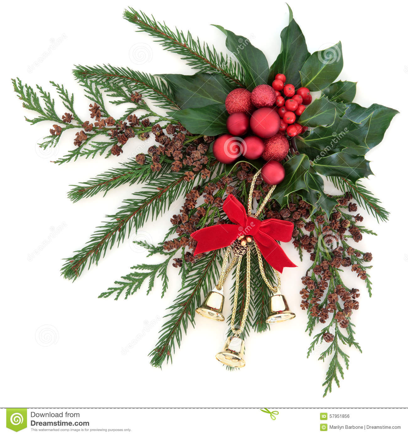 christmas flora with gold bells and red bauble decorations with holly ivy and winter greenery over white background - Christmas Bells Decorations