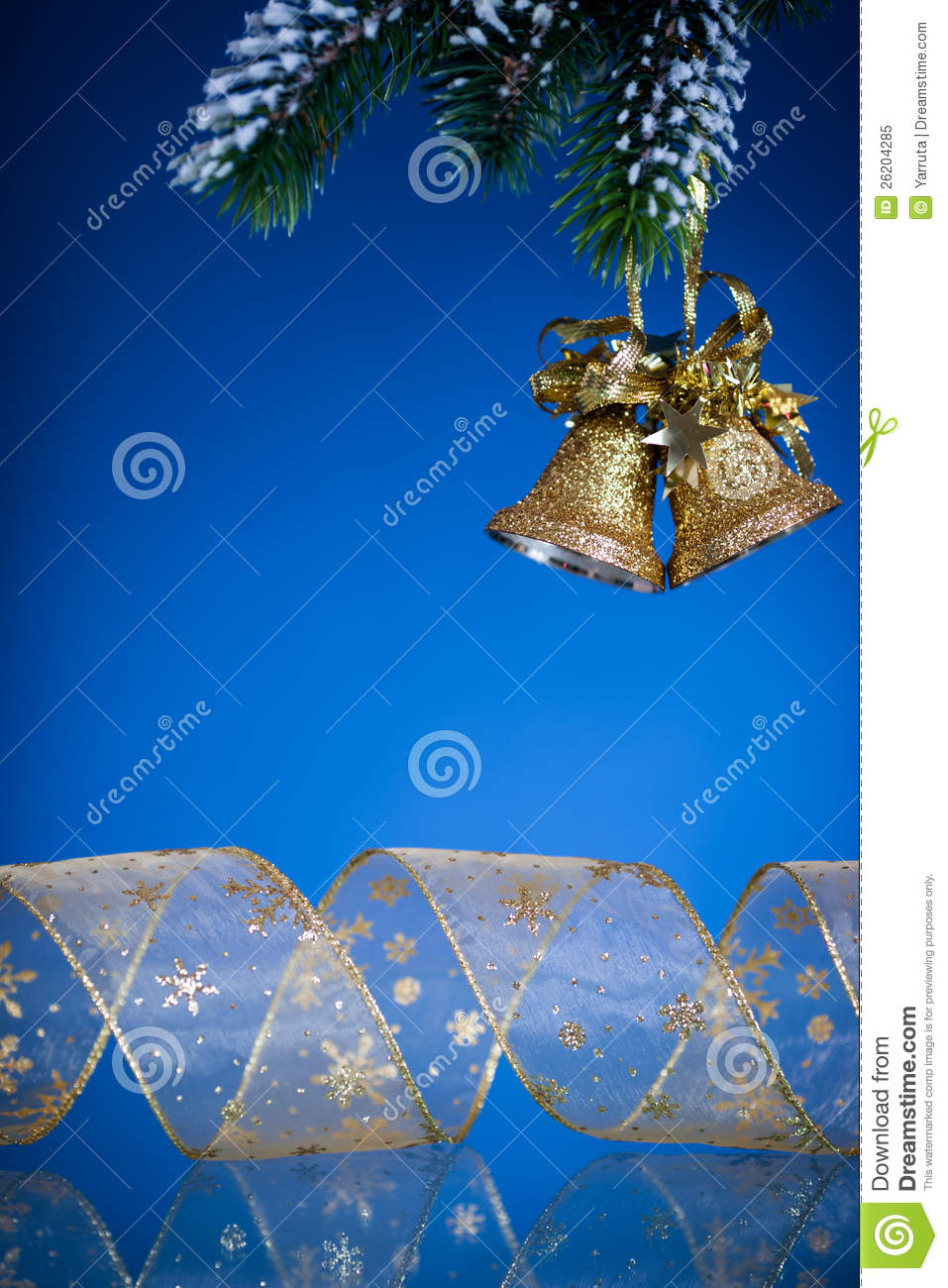Christmas bells on blue royalty free stock photo image