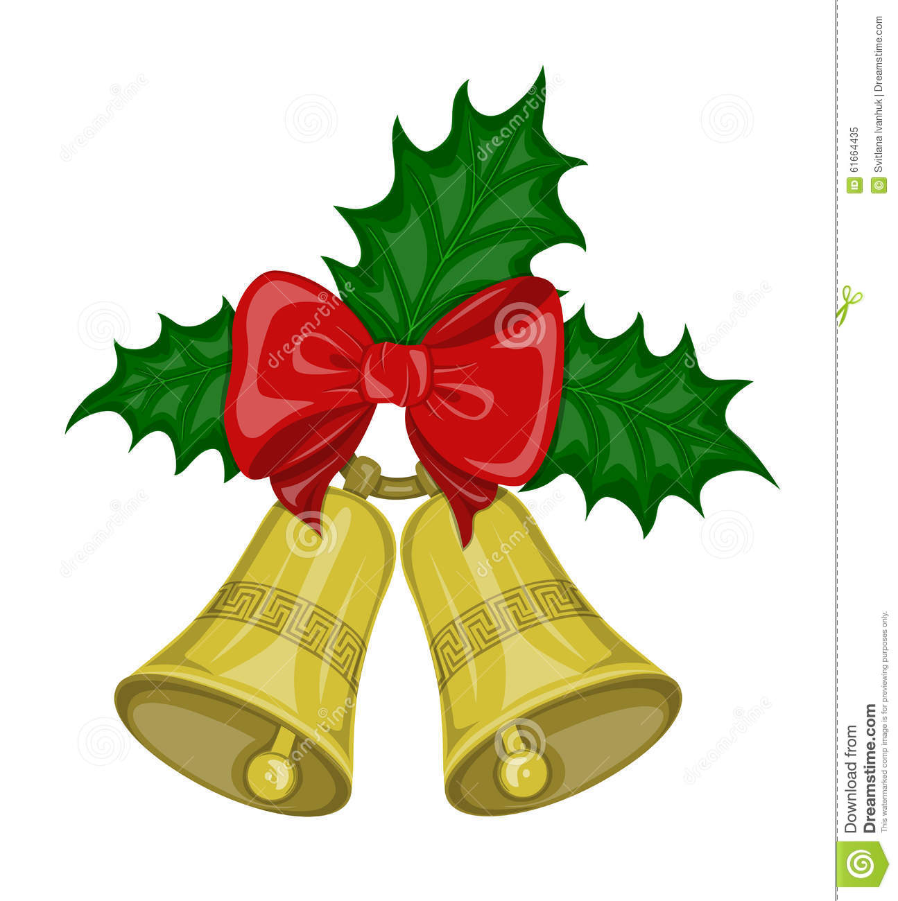 christmas bells with bow and leaves holly stock