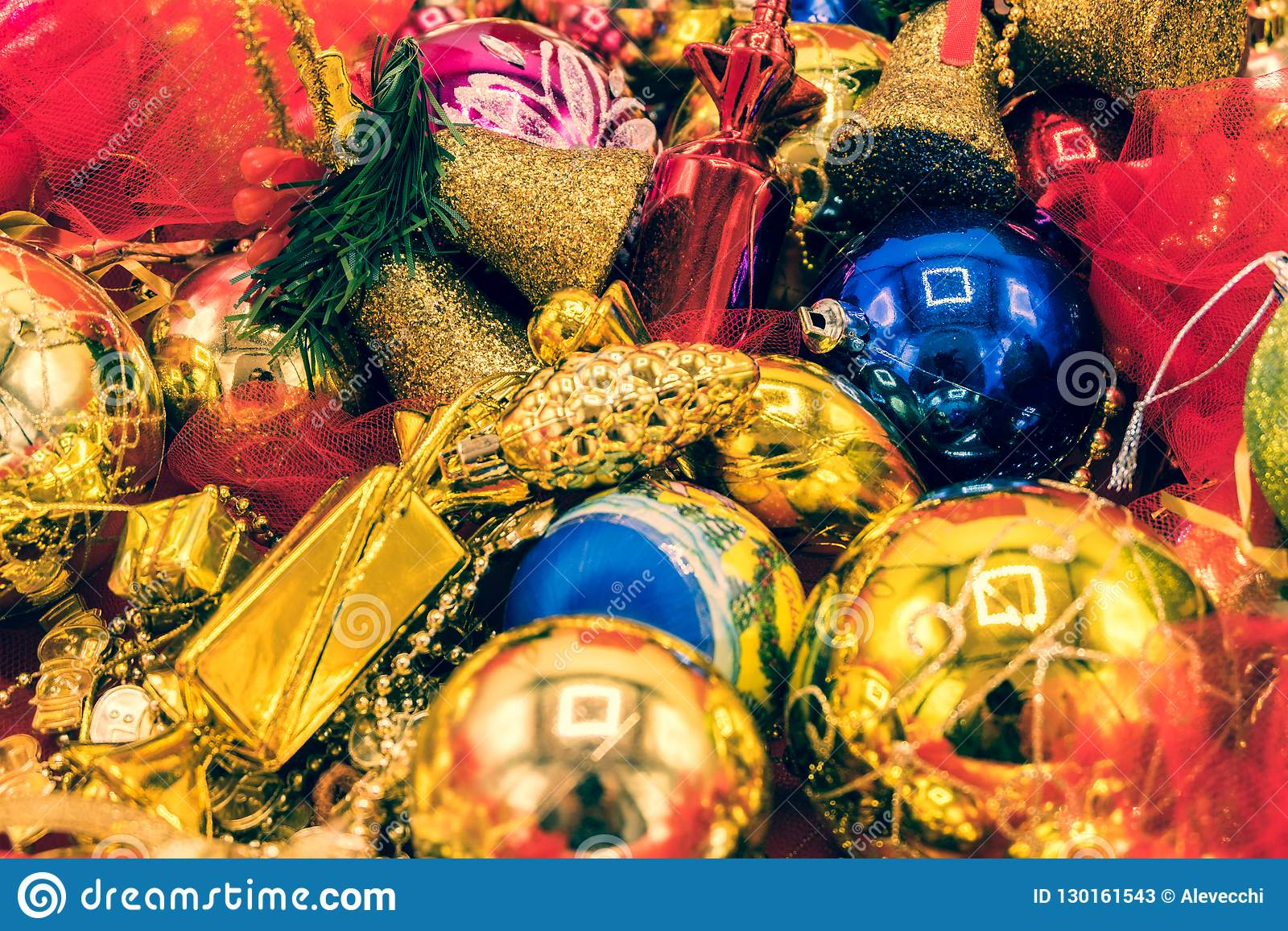 Christmas Bells And Tree Decorations Stock Image Image Of