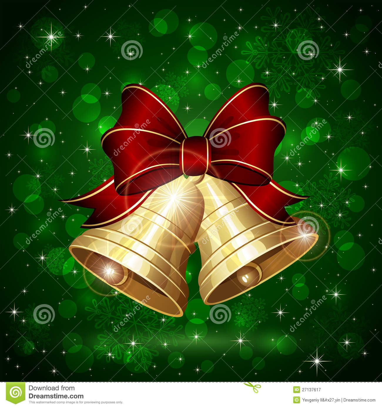 Christmas bells on green background stock vector image