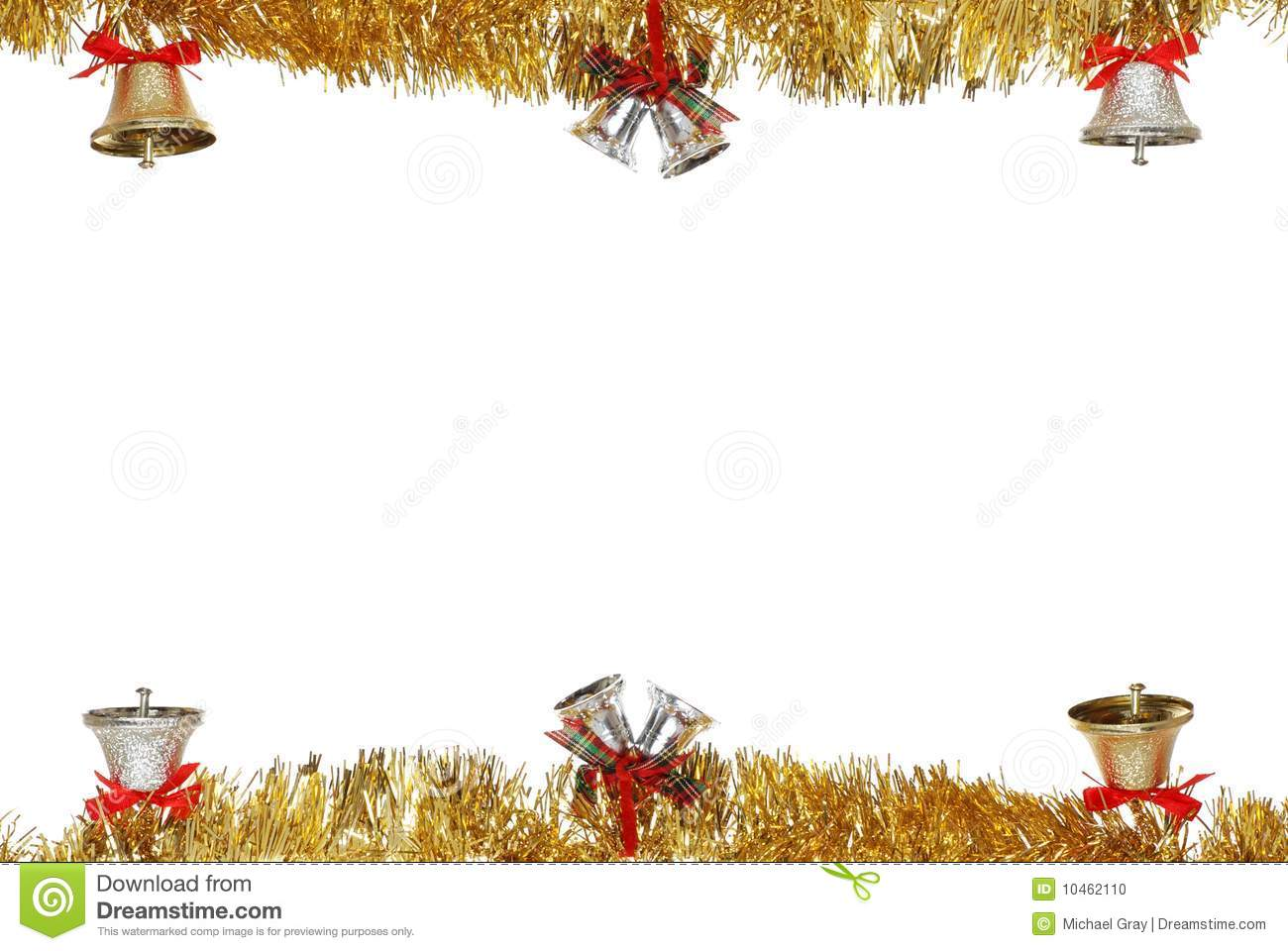 christmas bells hanging on gold garland stock photo image of