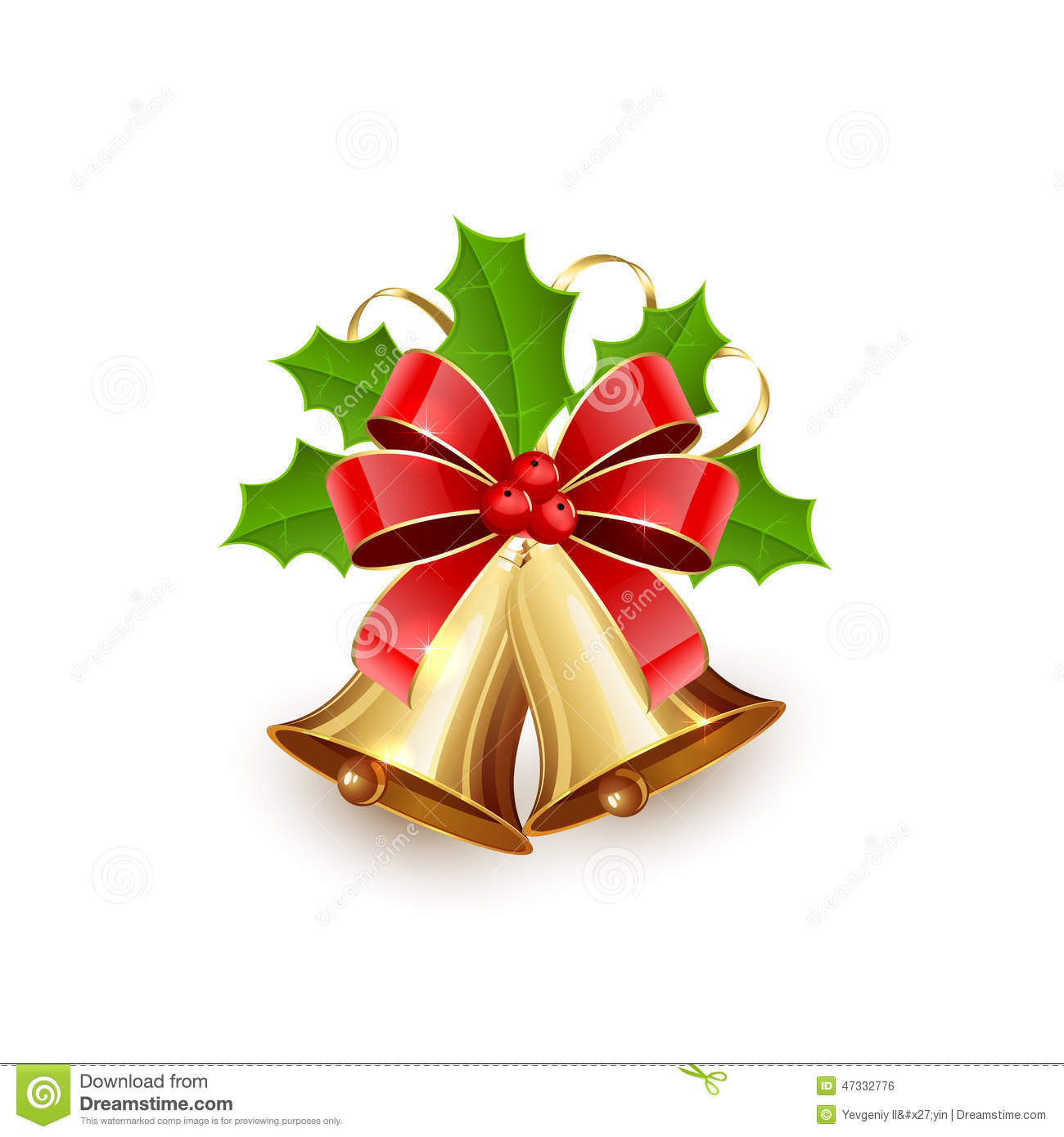 Christmas bells and holly berries stock vector image for Holl image