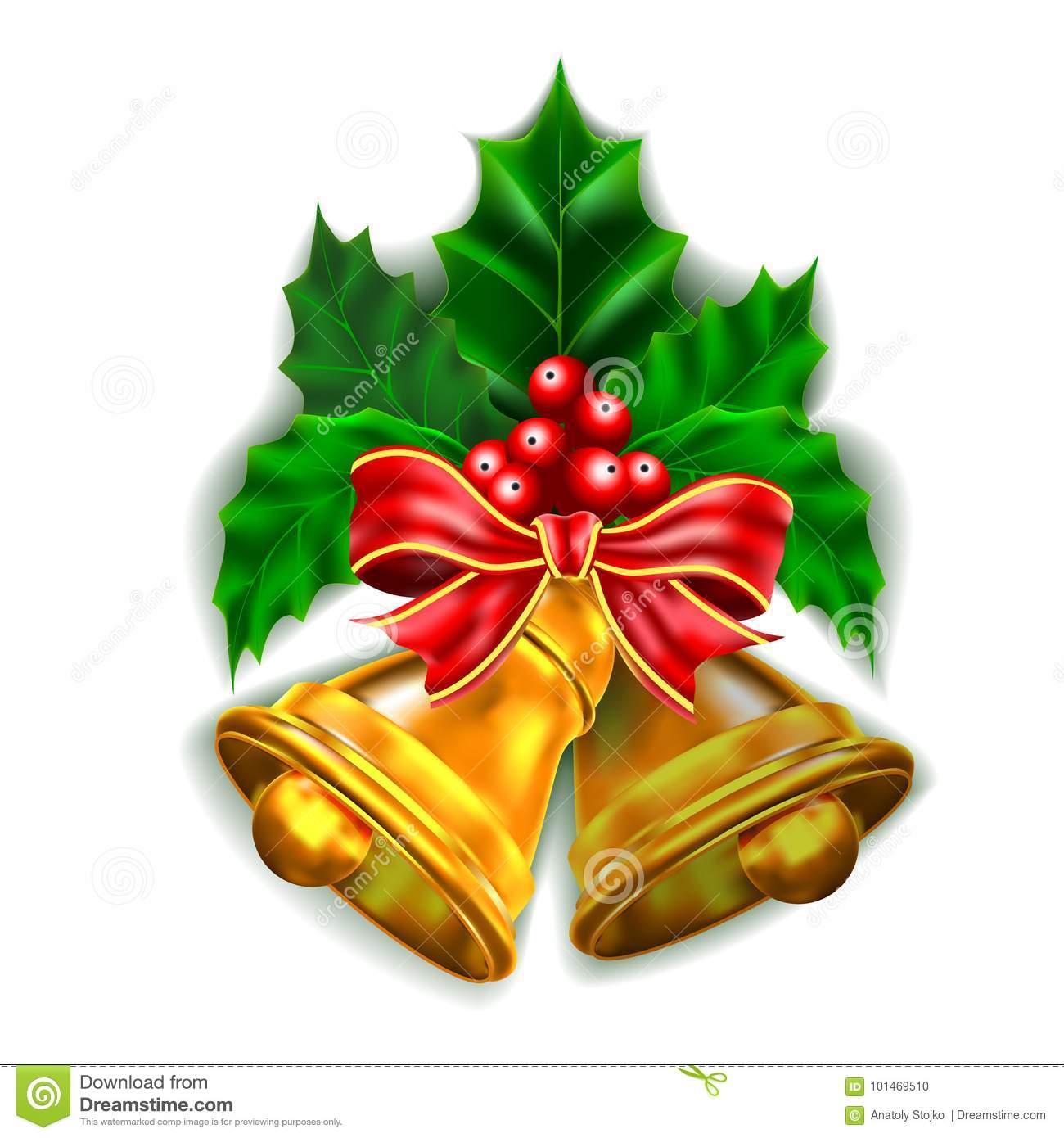 Free Clip Art Onfree To Use Search Results For Ucchristmas Bells With Red Bow And Holly