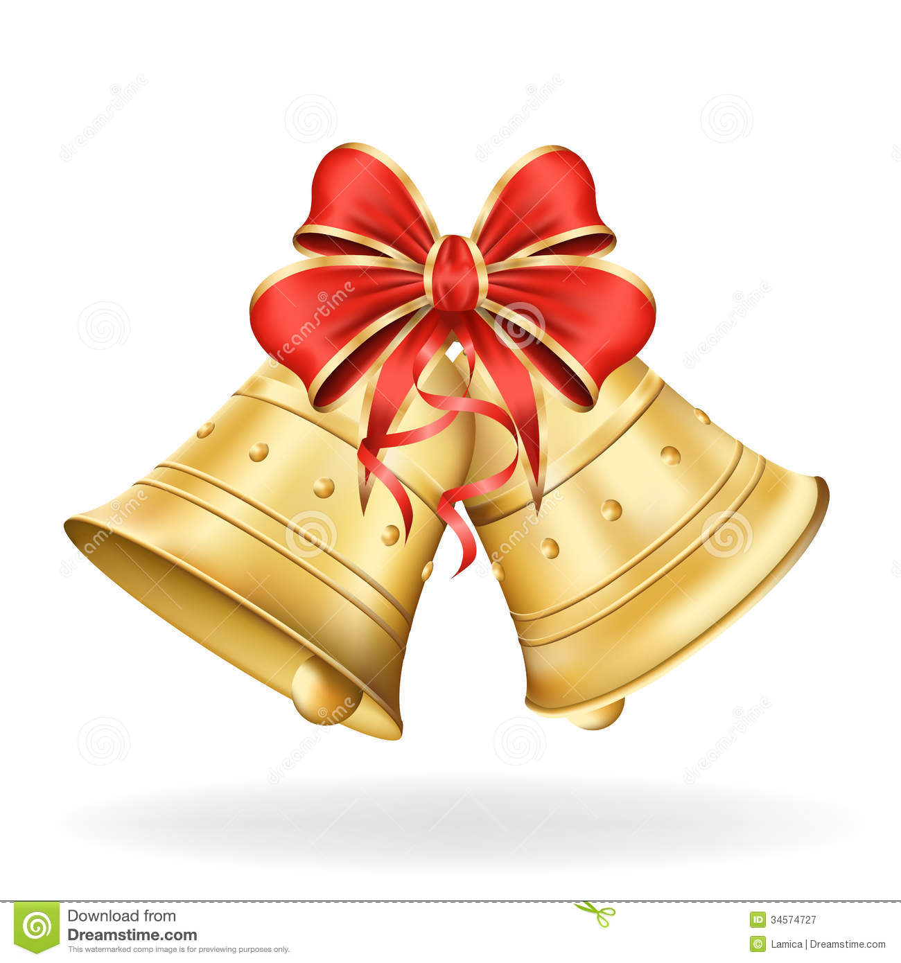 Christmas tree decorations silver and gold - Royalty Free Stock Photography Christmas Bells With Red Bow On White