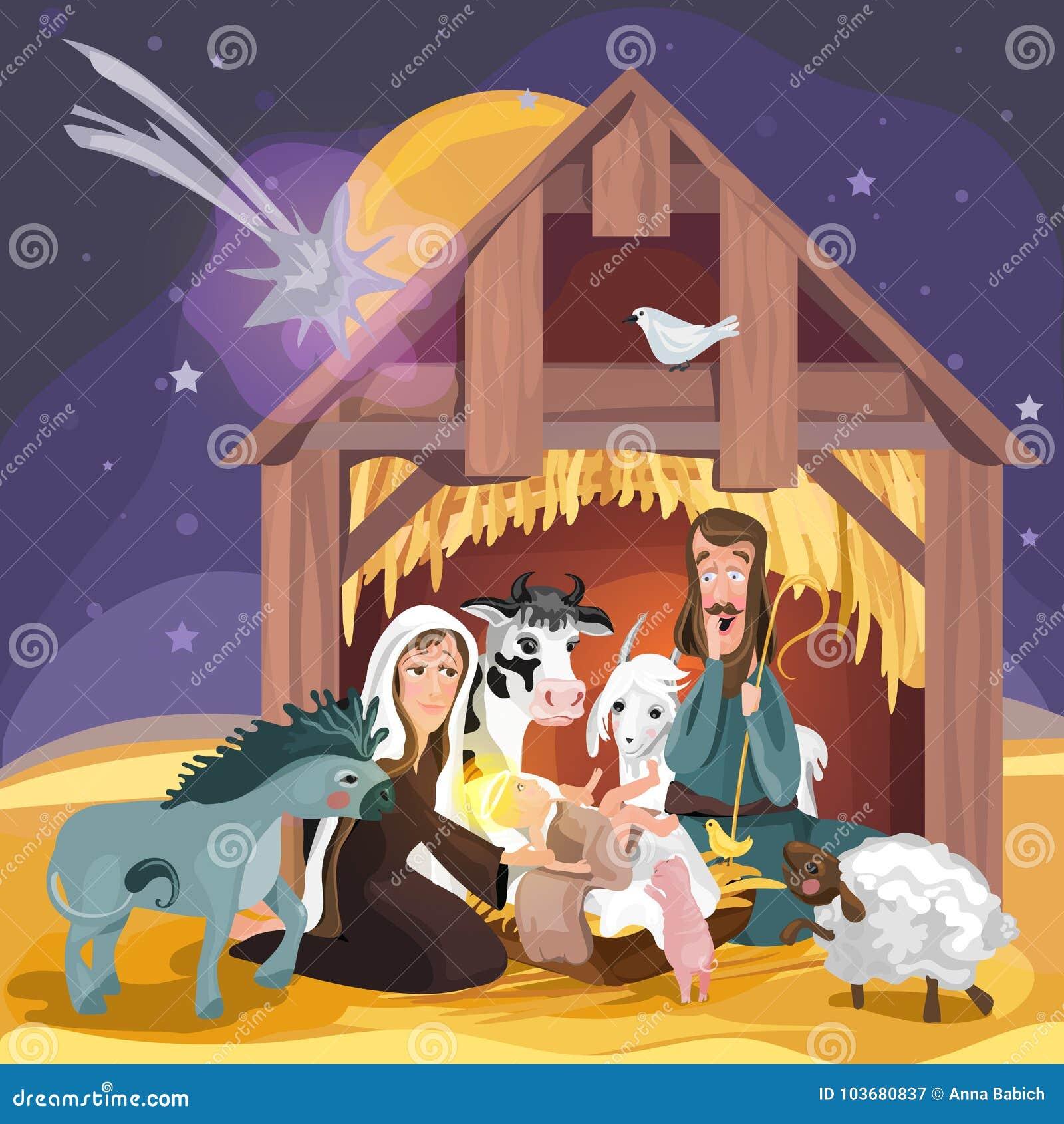 Story Of Christmas.Christmas Bible Story Christmas Nativity Card Stock Vector