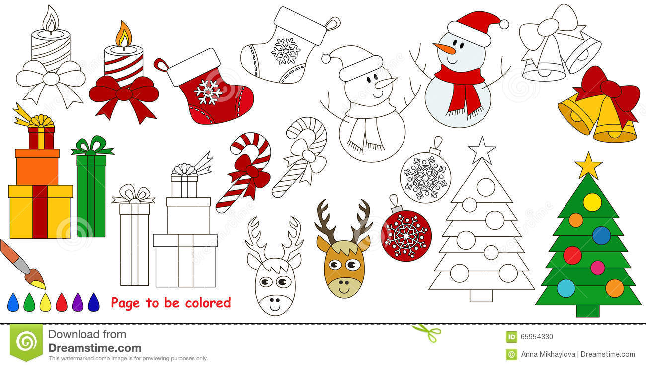 Christmas Big Coloring Book Stock Vector Illustration Of Candle