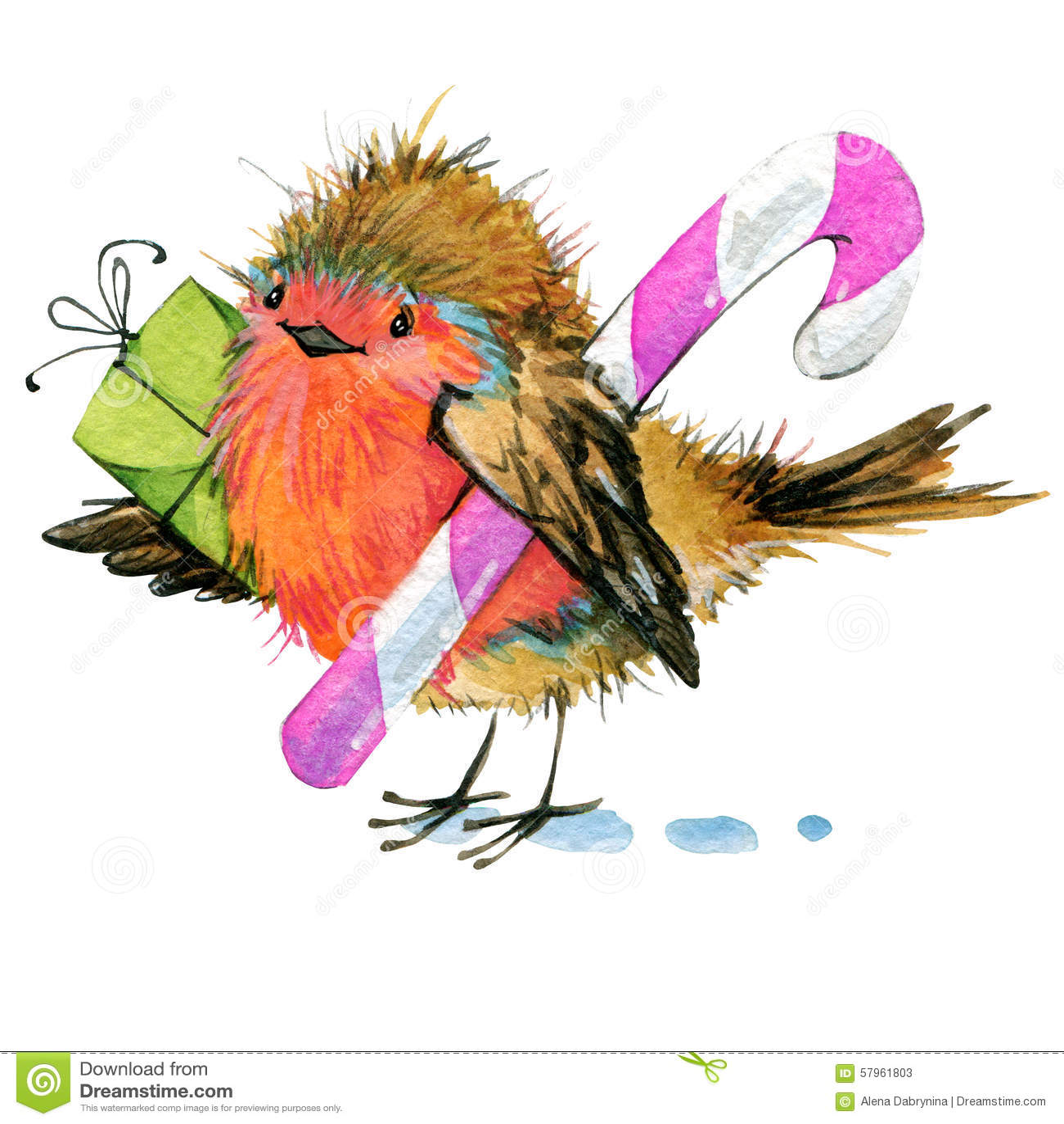 Christmas Bird.Christmas Bird And Christmas Background Watercolor