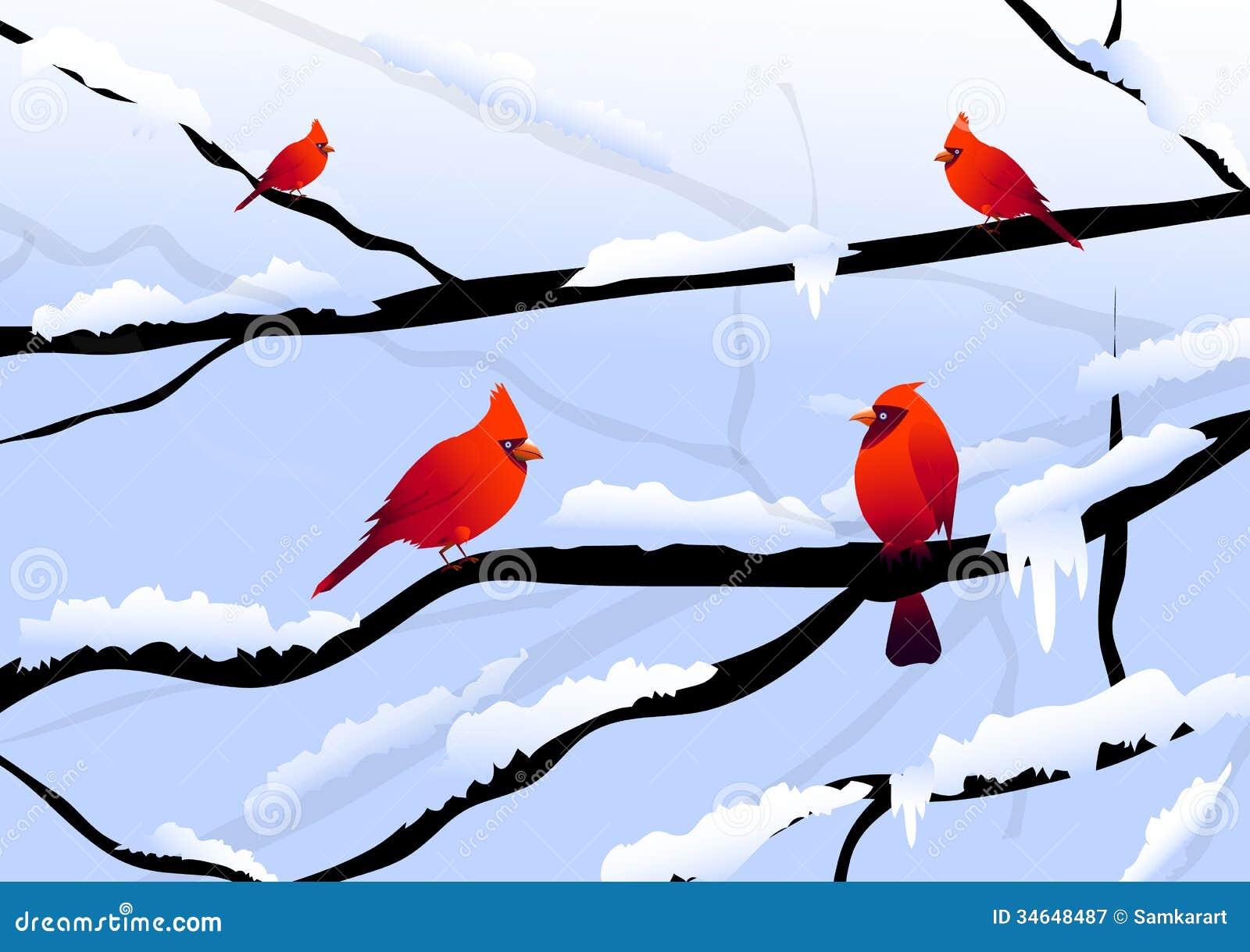 Modern xmas trees - Christmas Birds Amp Winter Landscape Royalty Free Stock Photography