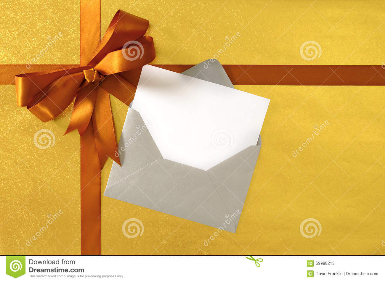 Christmas Or Birthday Card With Gold Gift Ribbon And Bow On Paper Background Blank Greetings