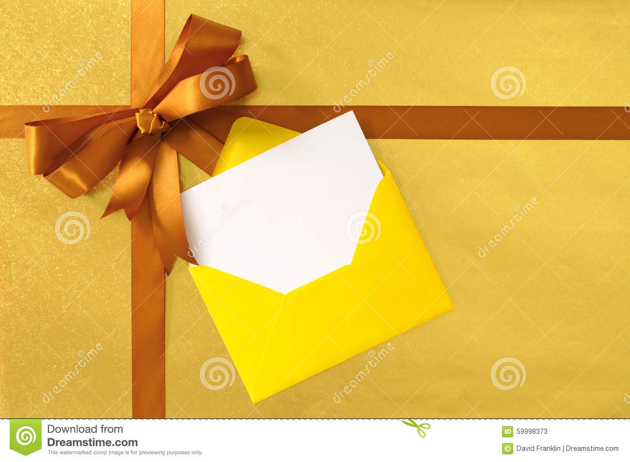 Christmas Or Birthday Card Gold Gift Ribbon Bow Plain Background Wrapping Paper
