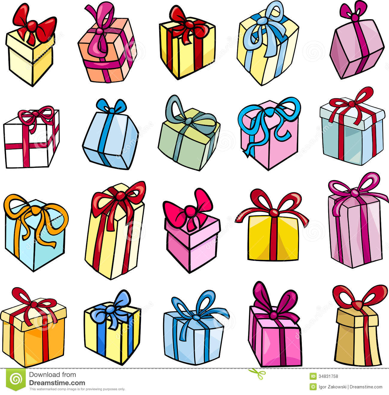 Christmas Toys Cartoon : Christmas or birthday gift clip art set stock vector