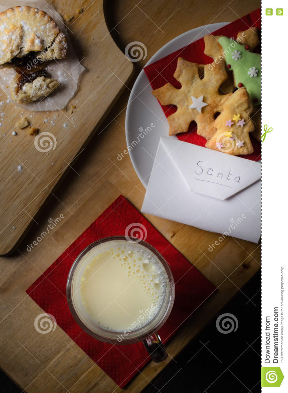 Christmas Biscuits Milk And Mince Pie For Santa Stock Photo Image